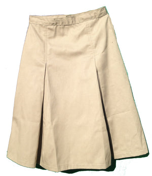 Pleated uniform skirt khaki