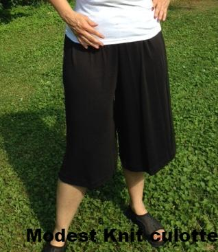 Ladies Knit Culottes Split Skirt - Elastic Waist- below the knee length XS-XL