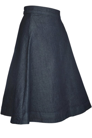 A-line denim skirt side view