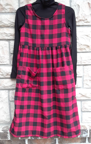 Girls Modest plaid flannel Jumper with black and red buffalo plaid