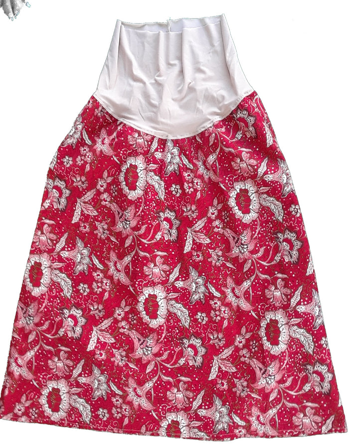 Maternity skirt red and tan print-Medium