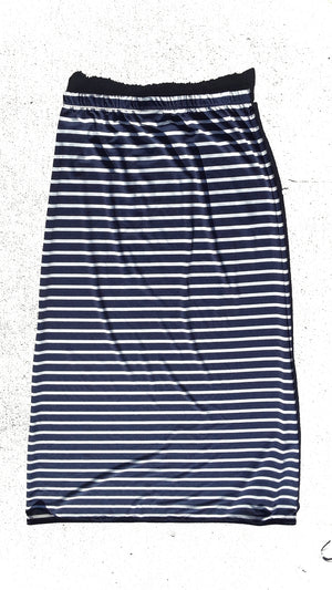 Navy and white striped skirt - Maxi or knee length