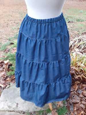 Below the knee Tiered Prairie denim skirt