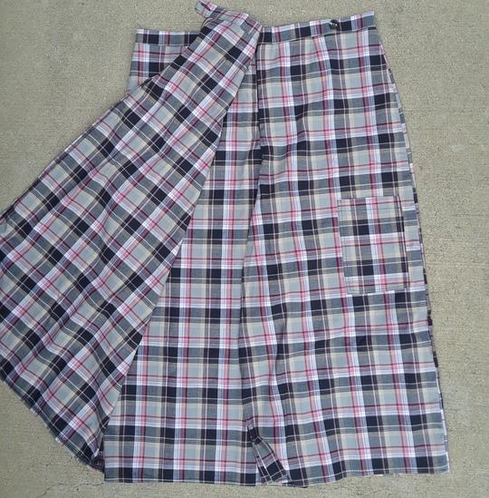 Long Fitted Pink Plaid Skort