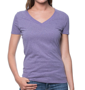 American Made Women's v-neck Knit Tee 50/50 BLEND Heather