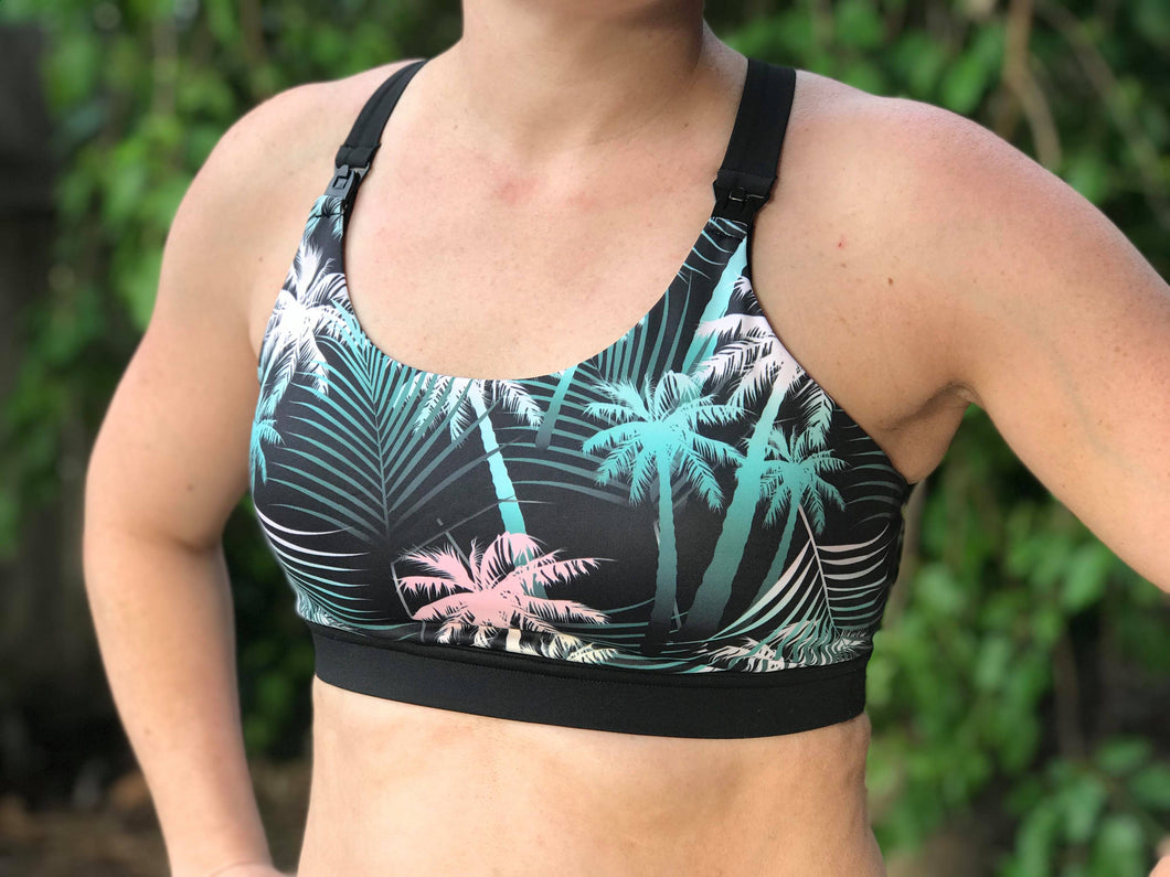 Black Palm - Breastfeeding / Nursing Active & Swim Crop