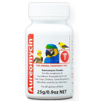 Aureomycin for Birds For use in birds for the treatment of bacterial pneumonia and bacterial enteritis 25 gram size