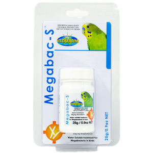 Megabac S for bird with megabacteria has Amphotericin-B 25g
