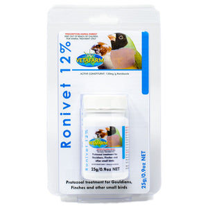 Ronivet 12% for treatment of canker and other protozoal infections in birds 25g
