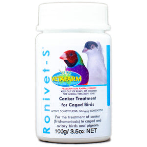 Ronivet-S Treatment for Canker and other protozoal infections in birds 100g