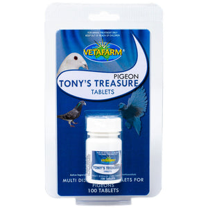 Tony's Treasures for treatment of respiratory distress, canker, sinusitis, air sacculitis, enteritis, diarrhoea and weight loss in pigeons 100 tablets