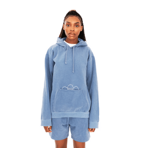 Ogechi wearing an Egg Pouch Hoodie