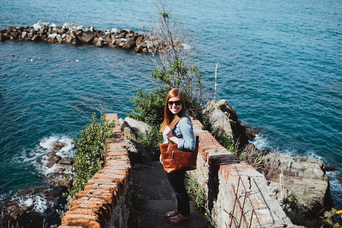 Jillian Wishart with Leather Capri in Cinque Terre, Italy