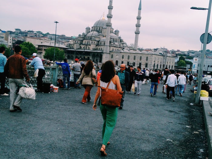 Christine Amorose with ONA Leather Capri in Istanbul