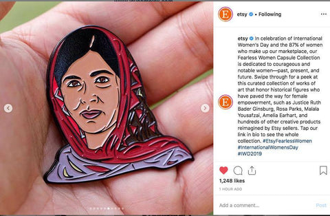 Malala Yousafzai -Enamel Pin Featured By Etsy!