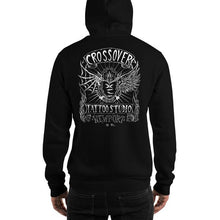 Load image into Gallery viewer, Cross Over Tattoo Stitched Heart Logo Hoodie