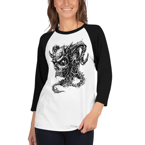 Cross Over Tattoo Demon Skull 3/4 sleeve raglan shirt