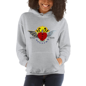 Cross Over Tattoo Stitched Heart Logo Hoodie