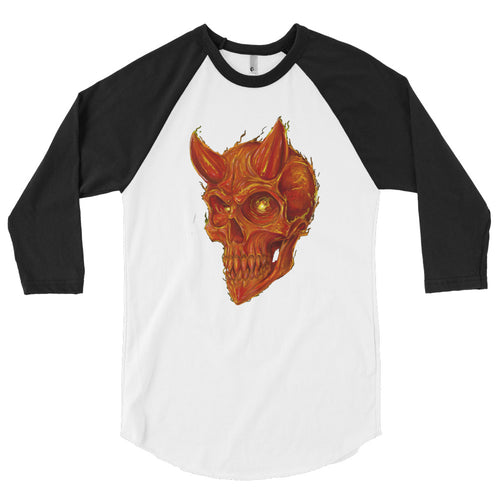 Cross Over Tattoo Fire Demon 3/4 sleeve raglan shirt