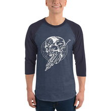 Load image into Gallery viewer, Cross Over Tattoo Ink Gun Impales Skull 3/4 sleeve raglan shirt