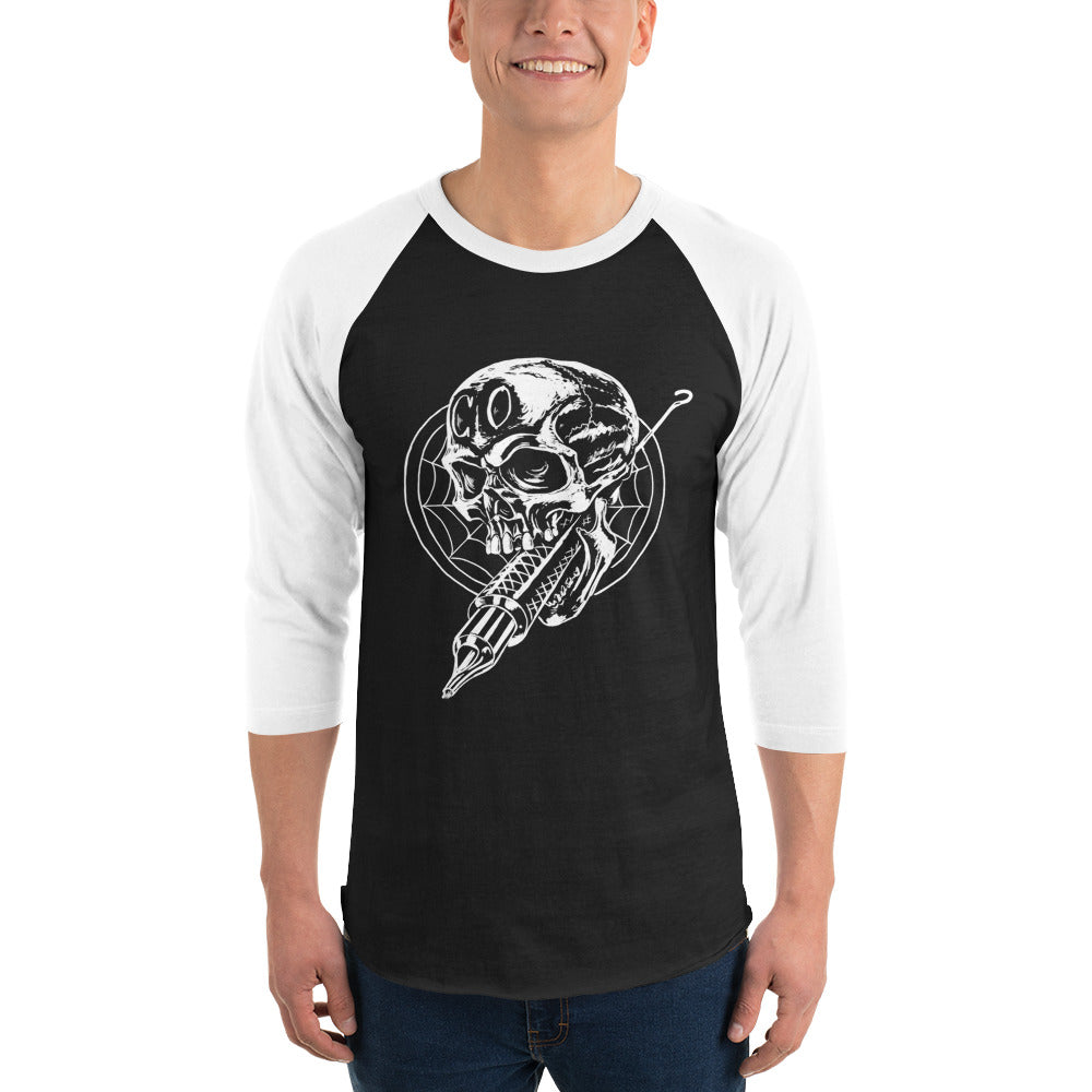 Cross Over Tattoo Ink Gun Impales Skull 3/4 sleeve raglan shirt