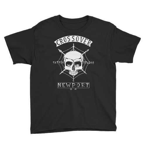 Cross Over Tattoo Youth Skull in Spider Web T-Shirt