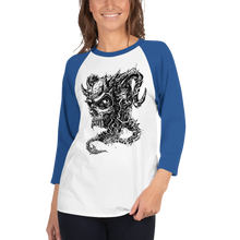 Load image into Gallery viewer, Cross Over Tattoo Demon Skull 3/4 sleeve raglan shirt