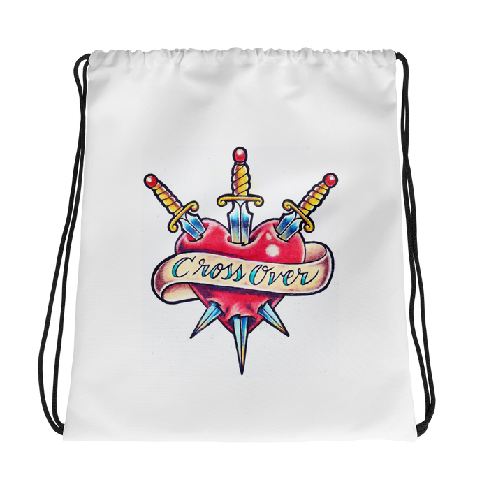 Cross Over Tattoo 3 swords Heart Drawstring bag
