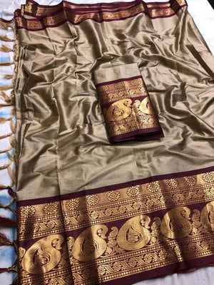 DESIGNER CREAM AND COFFEE JACQUARD DESIGN COTTON SILK SAREE