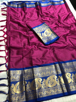 DESIGNER PINK AND BLUE JACQUARD DESIGN COTTON SILK SAREE