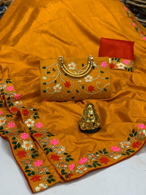 Beautiful dola silk saree with gotapati work laced with matching purse