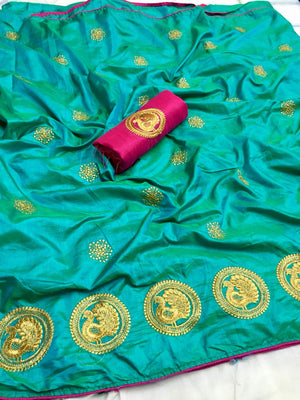 ADORABLE RAMA SANA SILK SAREE