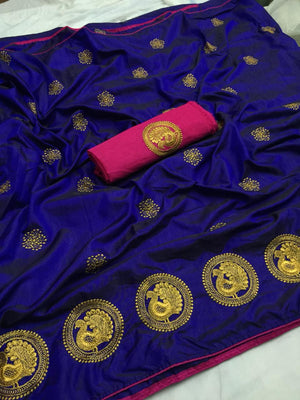 ADORABLE BLUE SANA SILK SAREE