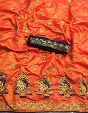 TWO TON SANA SILK FABRIC WITH EMBROIDERY WORK WITH BANGLORE SILK BLOUSE