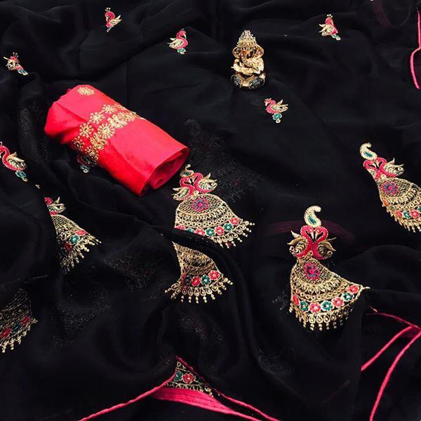 New Designer Black Chiffon Saree With Embroidered Work