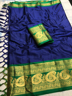 DESIGNER BLUE AND GREEN JACQUARD DESIGN COTTON SILK SAREE
