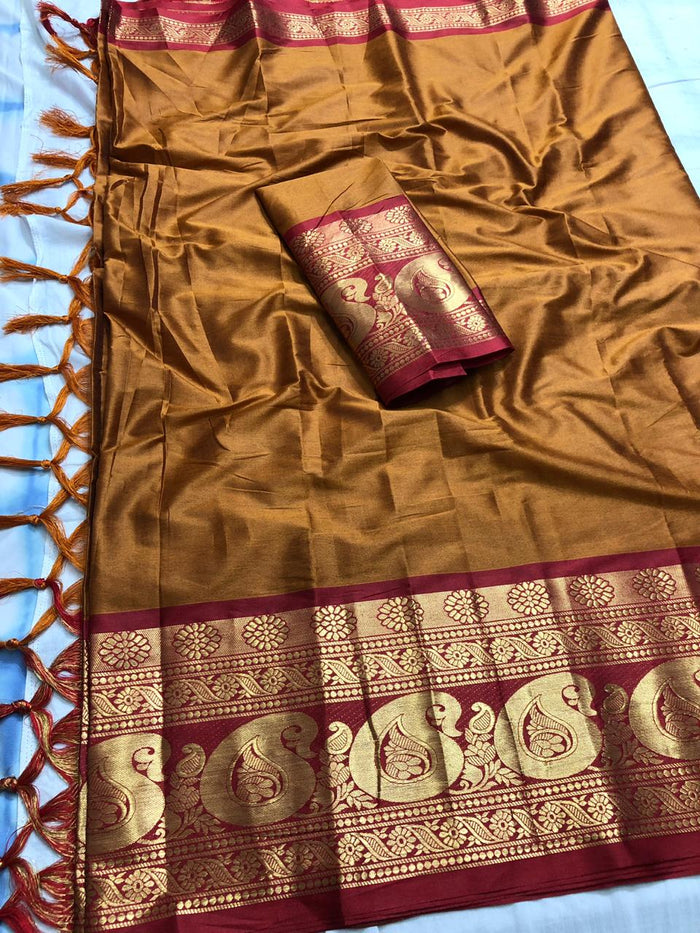 DESIGNER MUSTERED AND RED JACQUARD DESIGN COTTON SILK SAREE