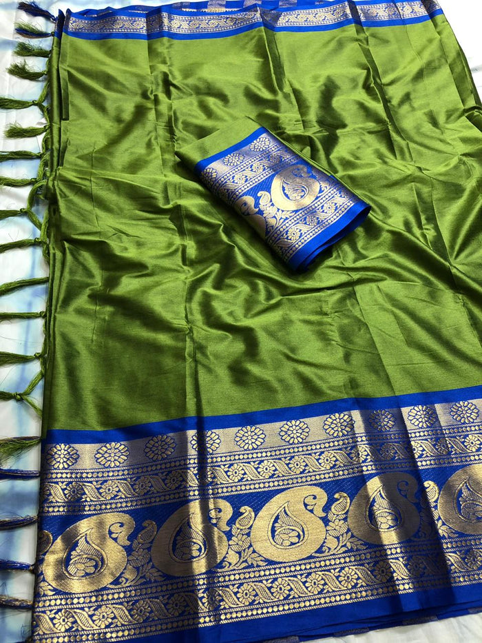 DESIGNER GREEN AND BLUE JACQUARD DESIGN COTTON SILK SAREE