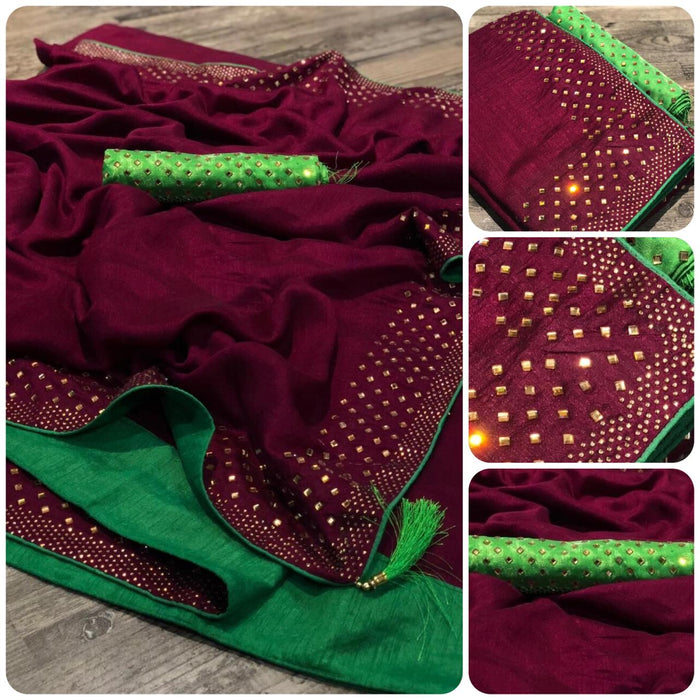 NEW ADORABLE WINE VICHITRA SILK SAREE