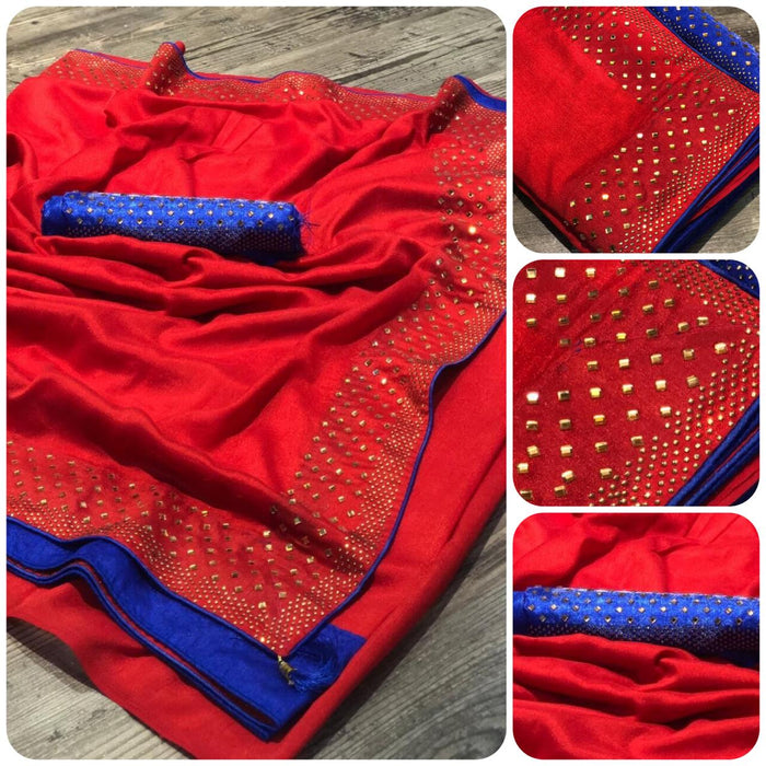 NEW ADORABLE RED VICHITRA SILK SAREE