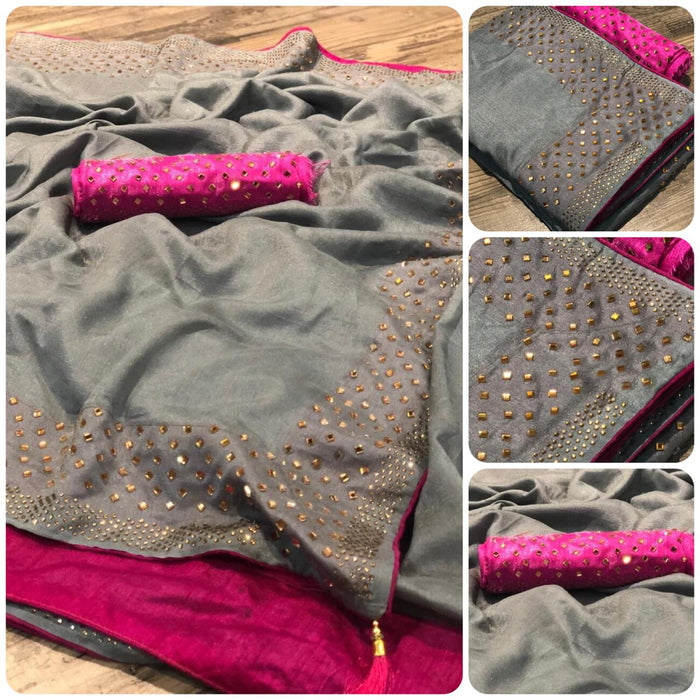 NEW ADORABLE GREY VICHITRA SILK SAREE