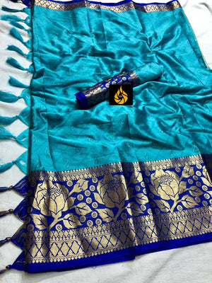 RICH COTTON SILK SAREE WITH EMBOSSED LOOK