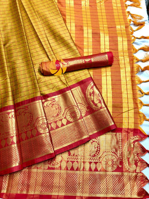 NEW PARTYWERE SAREE WITH COTTON SILK FABRIC AND MUSTARAD WITH RED  COLOR COMBINATION SAREE