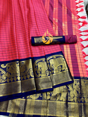 NEW PARTYWERE SAREE WITH COTTON SILK FABRIC AND PINK WITH NEVY BLUE  COLOUR COMBINATION SAREE