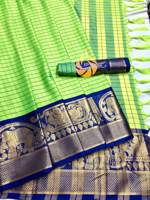 NEW PARTYWERE SAREE WITH COTTON SILK FABRIC AND PARROT WITH NAVY COLOUR COMBINATION SAREE