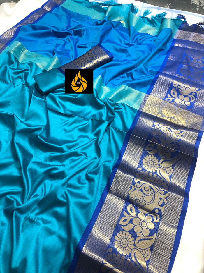 DESIGNER SKY AND BLUE JACQUARD DESIGN COTTON SILK SAREE