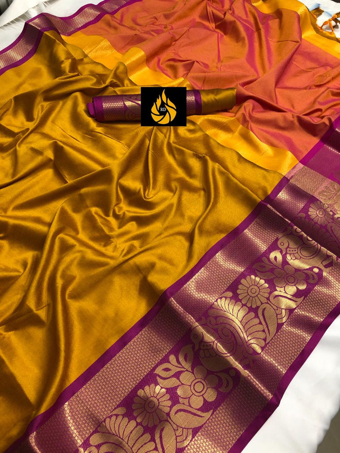 DESIGNER YELLOW AND PINK JACQUARD DESIGN COTTON SILK SAREE