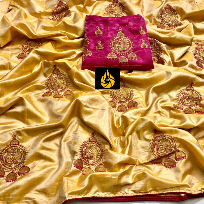 Two Ton Sana silk saree with embroidered work