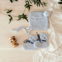 Load image into Gallery viewer, Blue Merino Wool Bonnet & Booties