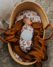 Load image into Gallery viewer, Sunset Rainbow Baby Jersey Wrap & Beanie Set